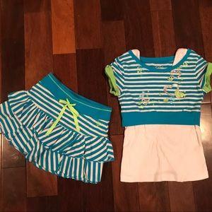 Justice 2pc blue & white striped ruffle skirt set